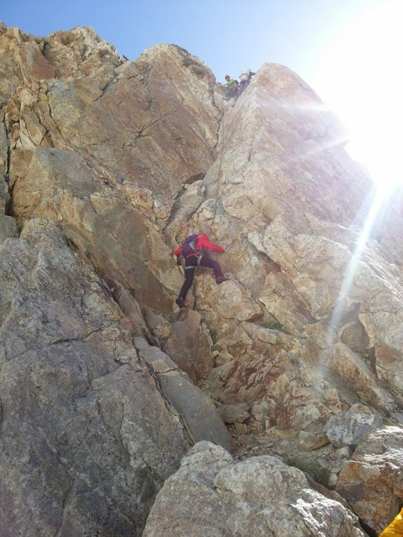 Heading up the first pitch of Fairshare Tower. Climbing class 5 in hiking boots was a new challenge! Photo: Jonny Griffith